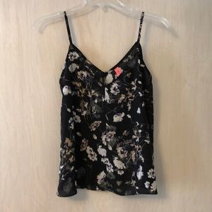 Sheer black and purple floral camisole